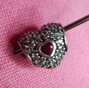Pandora heart cz bead with red heart